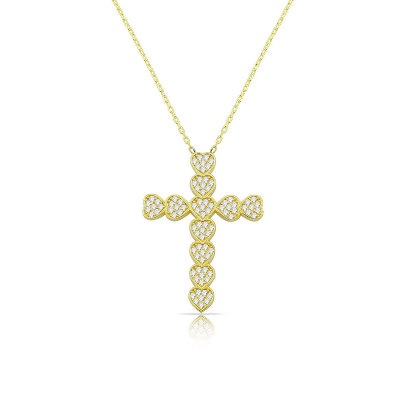 Hearts Cross Pendant Necklace JEWELRY The Sis Kiss