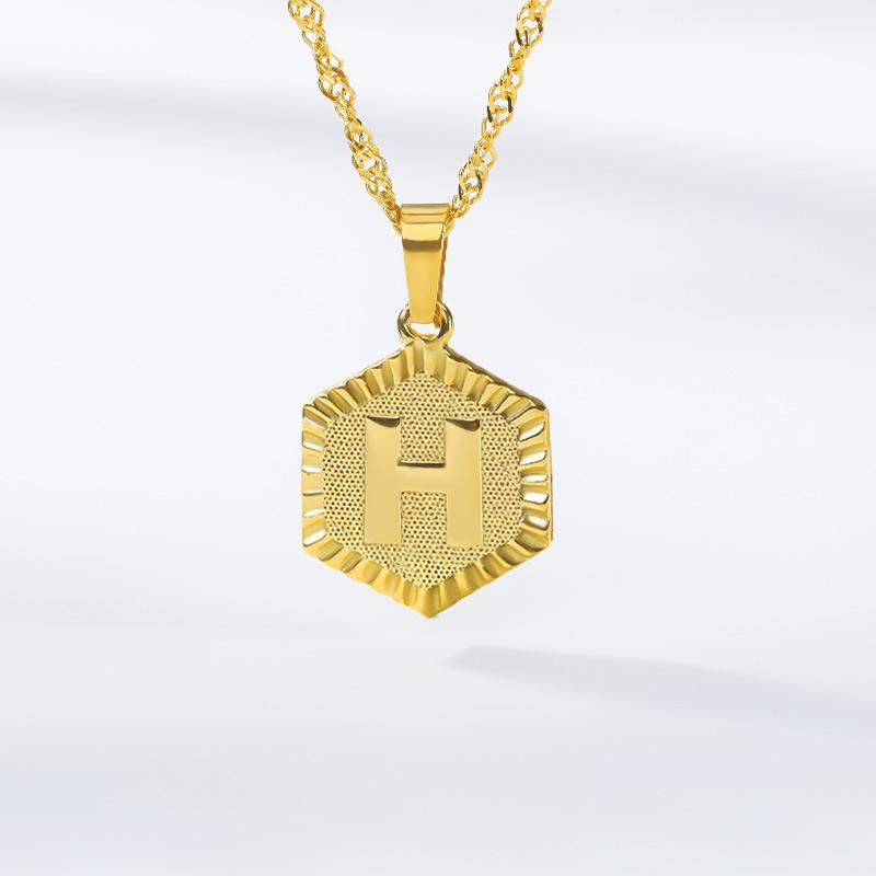 Gold Hex Initial Necklace JEWELRY The Sis Kiss