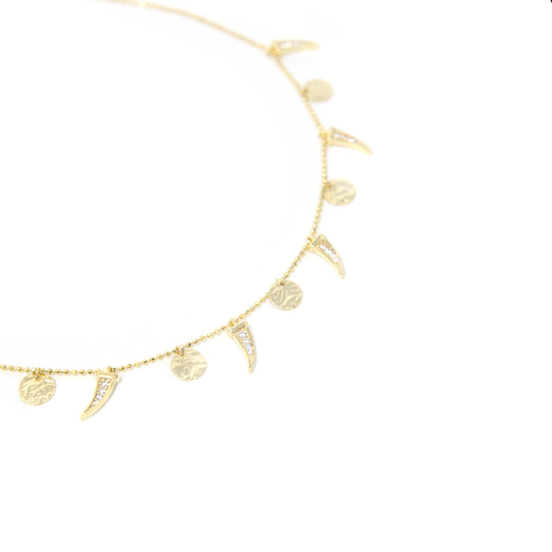 Crystal Horn and Charm Choker Necklace