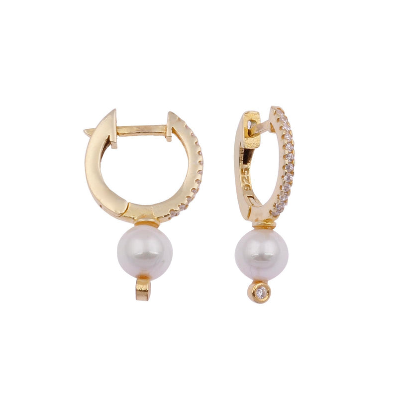 Pop of Pearl and Crystal Huggie Earrings JEWELRY The Sis Kiss