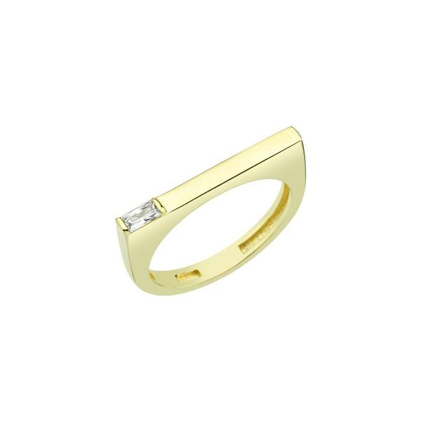 Gold Bar Ring with Crystal Accent JEWELRY The Sis Kiss