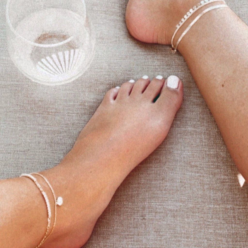 Crystal and Gold Links Anklet