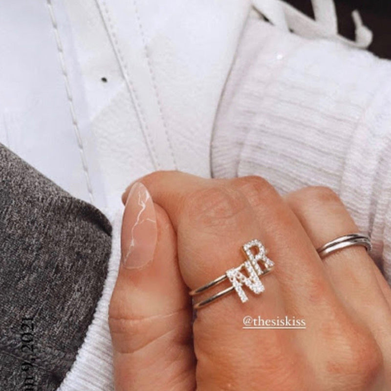 Adjustable Crystal Initial Ring JEWELRY The Sis Kiss