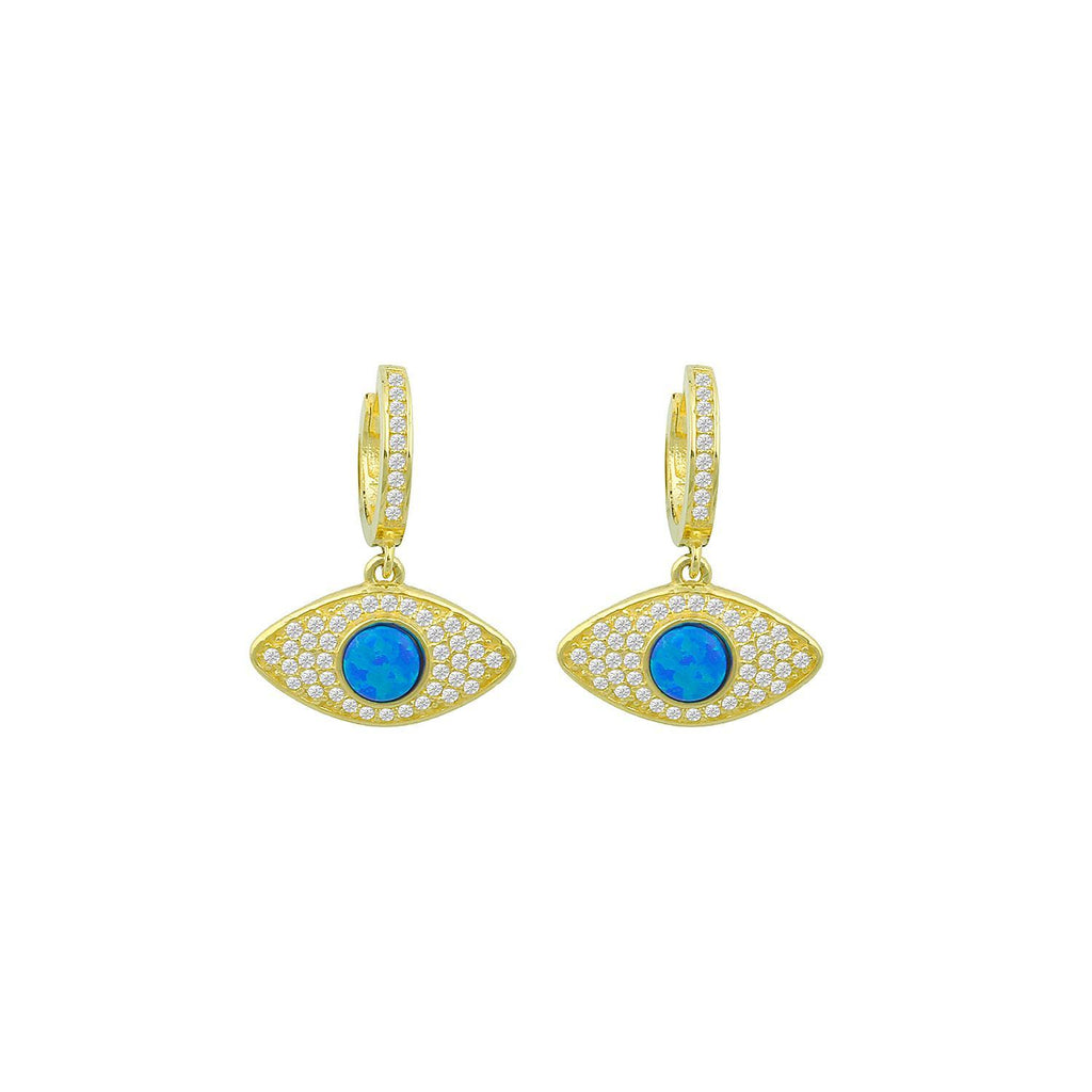 Blue Opal Evil Eye Huggie Earrings JEWELRY The Sis Kiss