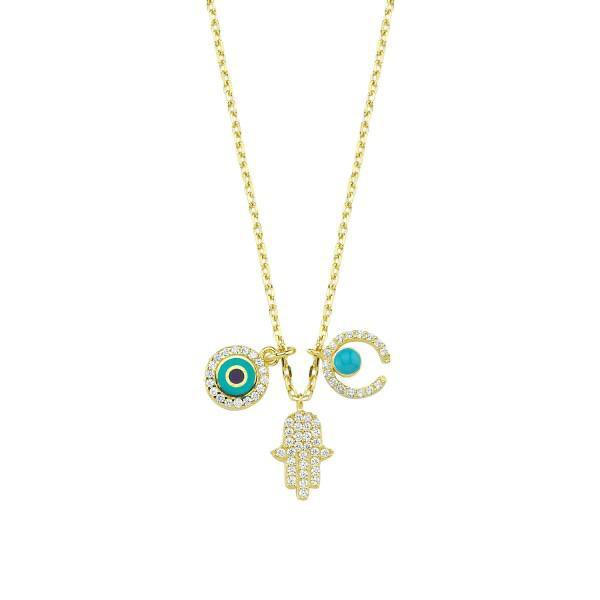 Evil Eye Hamsa Hand Horseshoe Charm Necklace JEWELRY The Sis Kiss