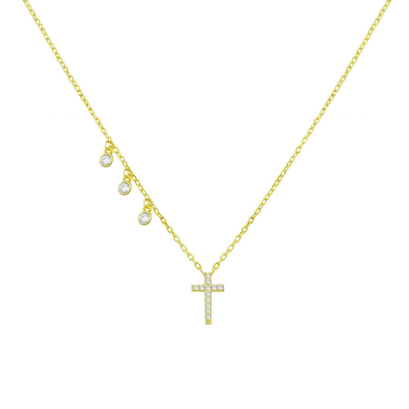 Classic Cross with Three Crystal Charms JEWELRY The Sis Kiss