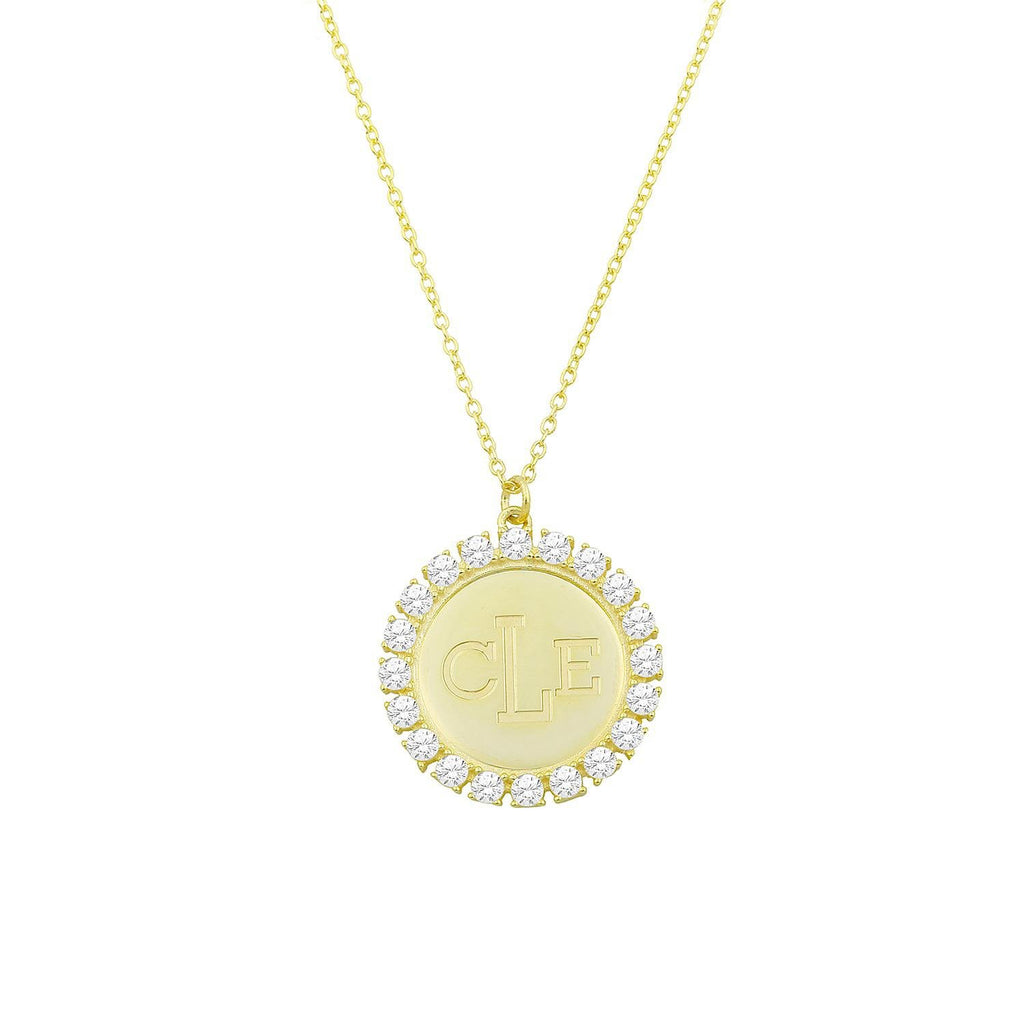 Custom Necklaces - Nameplates with Crystals necklace The Sis Kiss Radiant Circle Pendant Gold