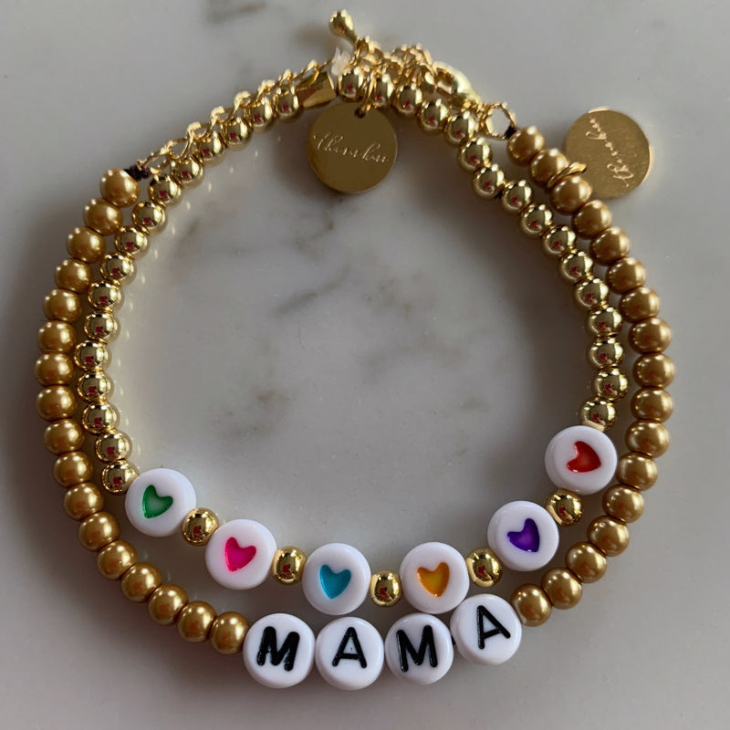 Rainbow Hearts on a Gold Beaded Bracelet JEWELRY The Sis Kiss