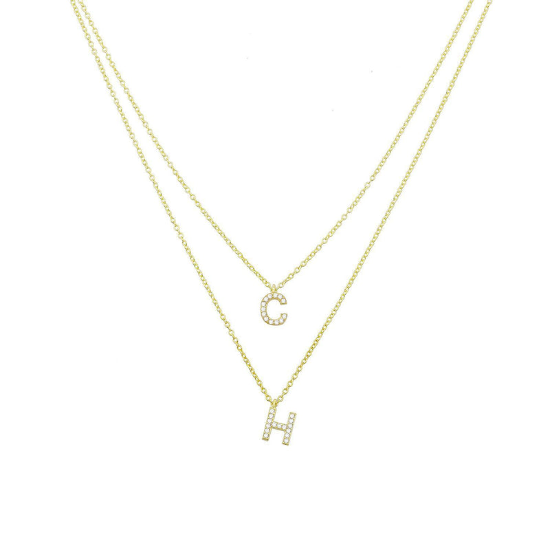Custom Double or Triple Layered Initial Necklace JEWELRY The Sis Kiss Gold Double Initial