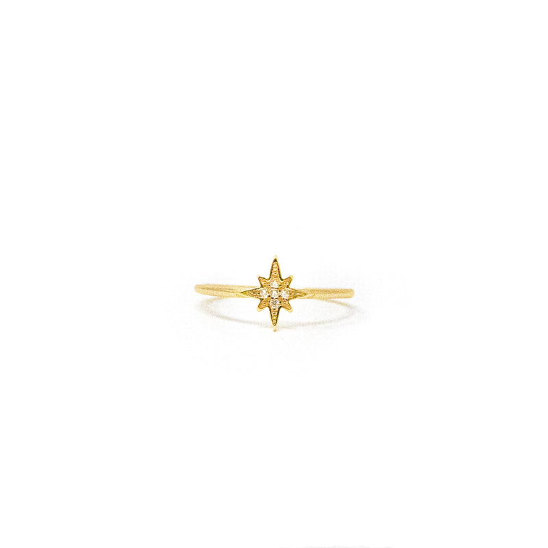 North Star and Crystal Ring in Gold JEWELRY The Sis Kiss
