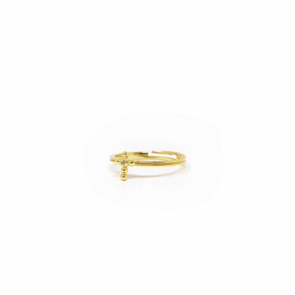 Adjustable Gold and Crystal Dainty Cross Ring