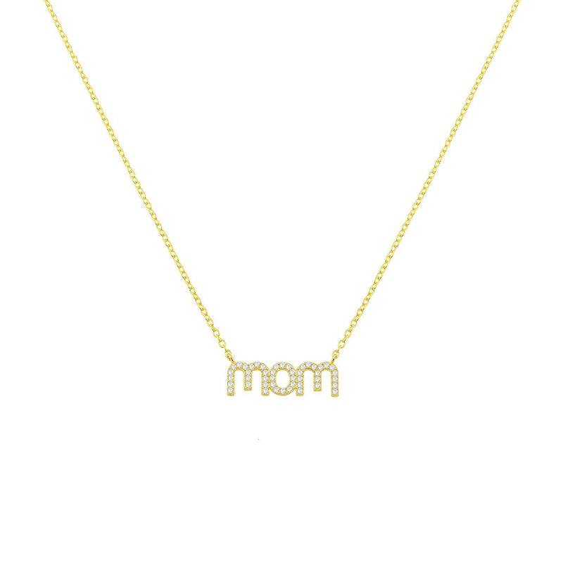Mom Necklaces necklace The Sis Kiss mom - Lowercase Gold with Crystals PREORDER