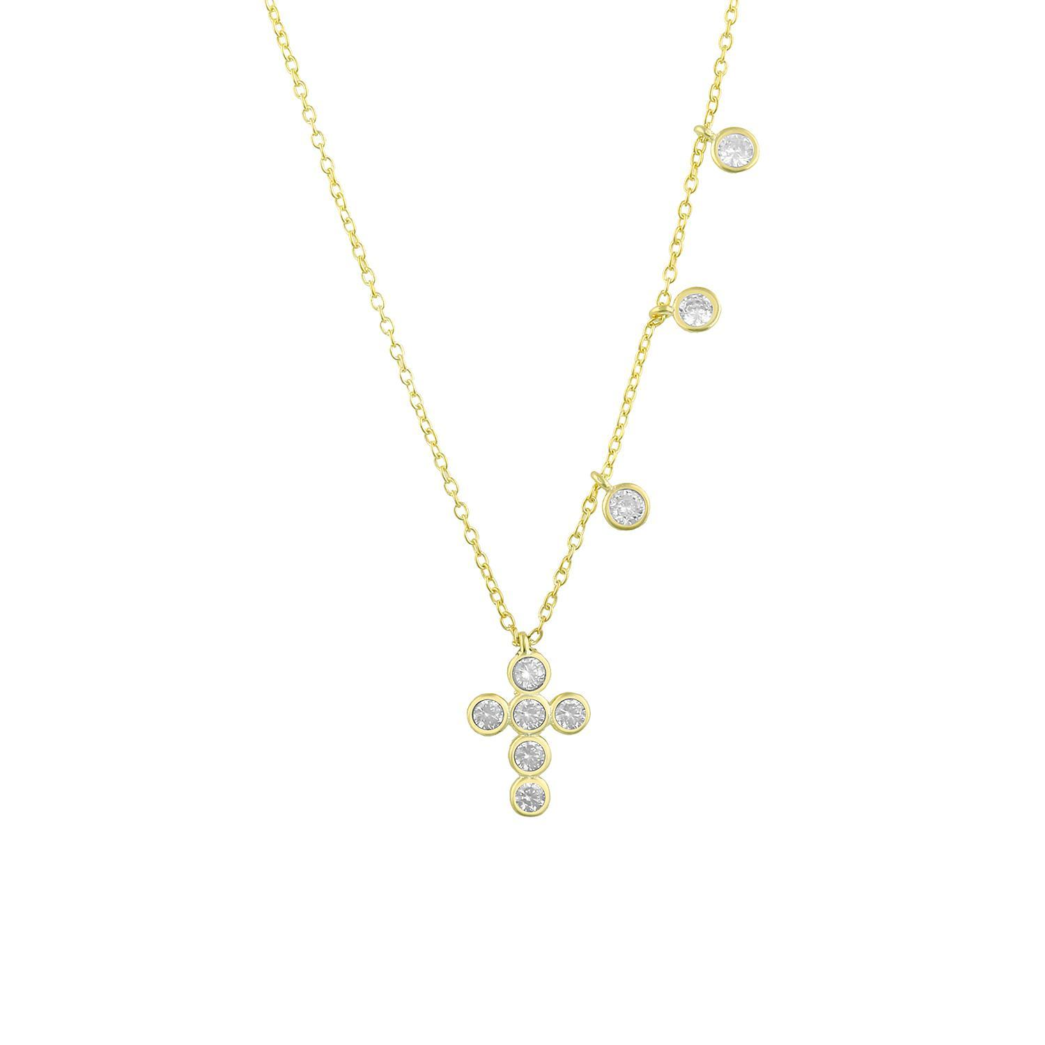 Dainty Crystal Cross and Charm Necklace