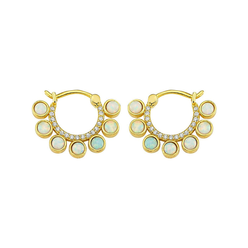 Opal and Pavé Crystal Huggie Earrings JEWELRY The Sis Kiss
