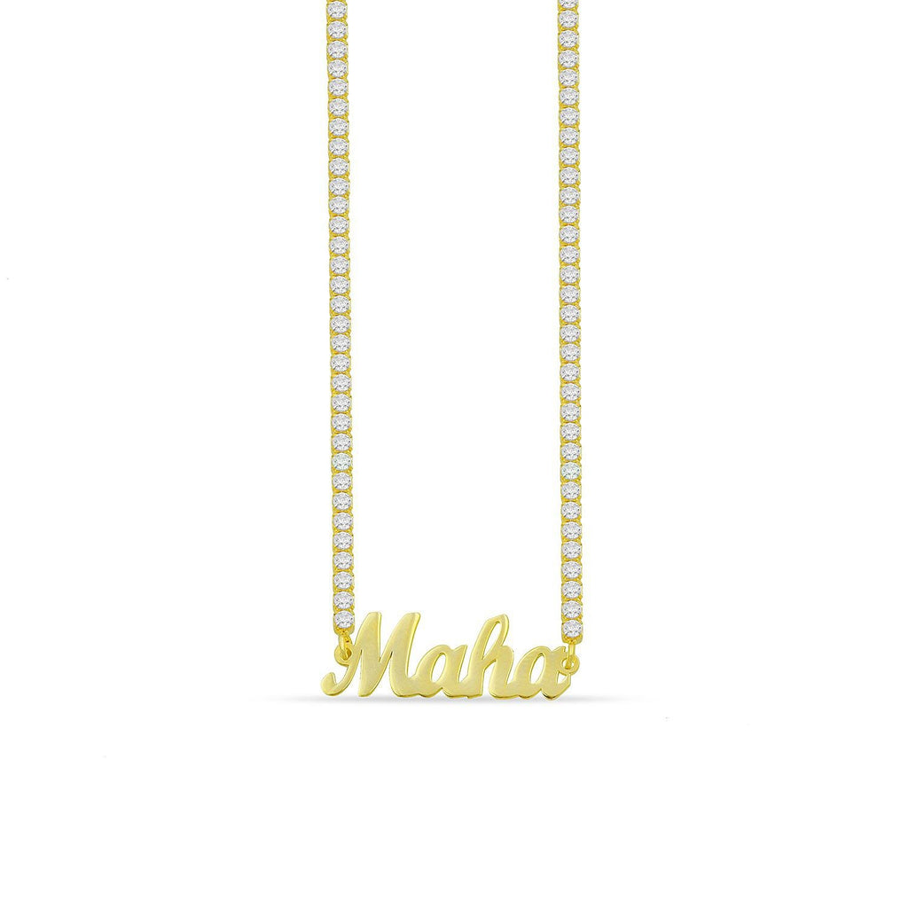 Custom Name Necklace with Crystal Chain JEWELRY The Sis Kiss Gold