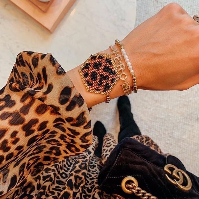 Leopard Hex Beaded Adjustable Bracelet JEWELRY The Sis Kiss