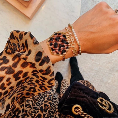 Leopard Hex Beaded Adjustable Bracelet