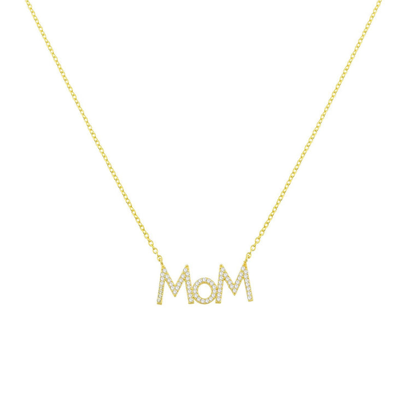 Mom Necklaces necklace The Sis Kiss MOM - Uppercase Gold with Crystals