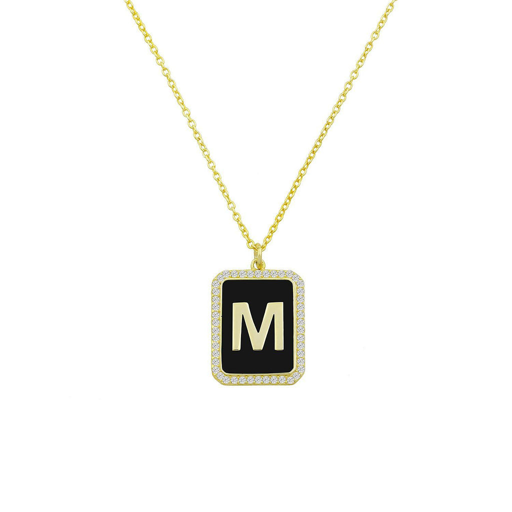 Square Pendant Initial Necklace in Black & Gold JEWELRY The Sis Kiss