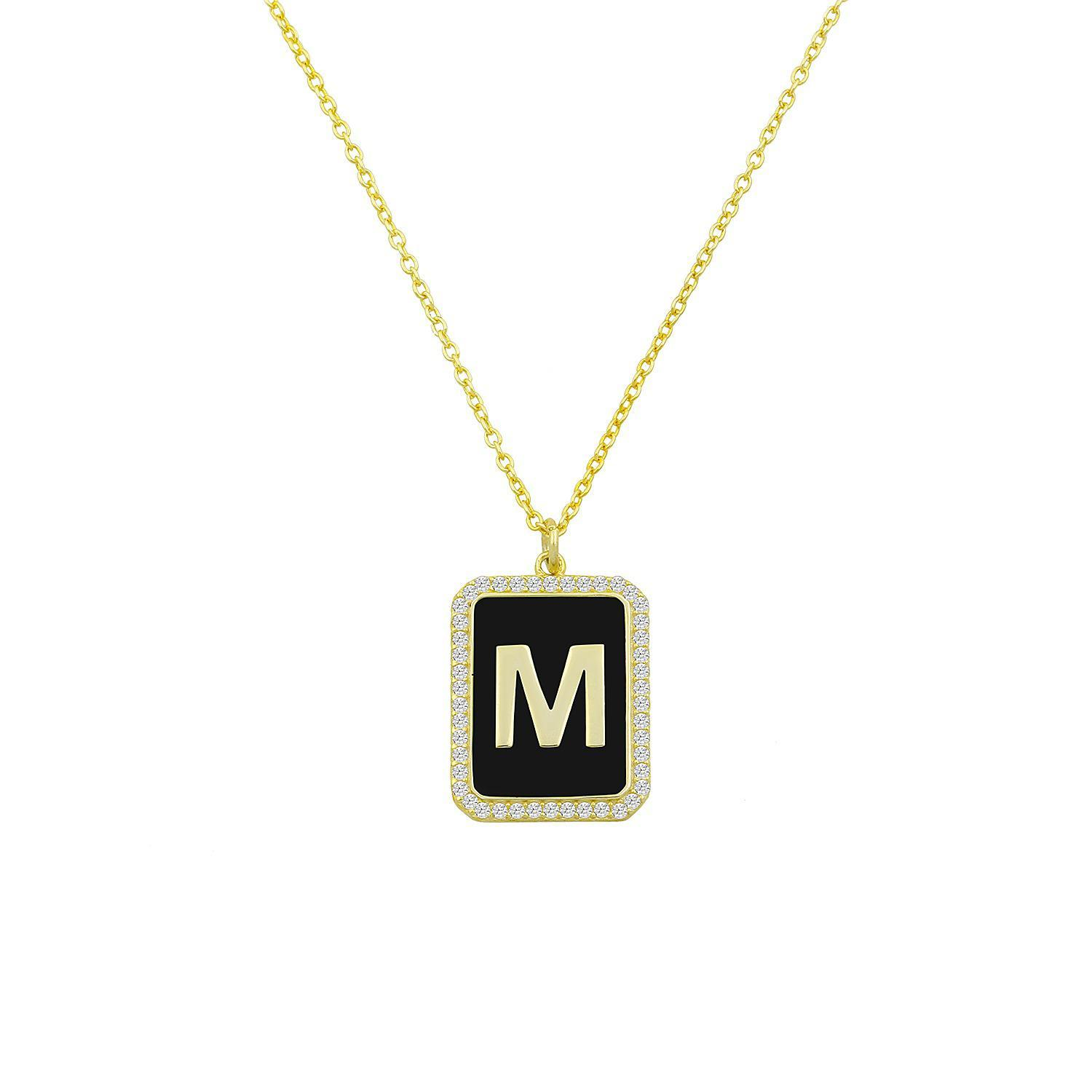 Square Pendant Initial Necklace in Black & Gold
