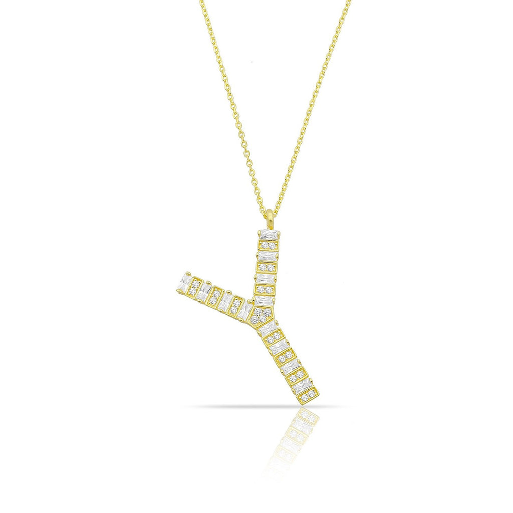 Custom Baguette Crystal Initial Necklace JEWELRY The Sis Kiss Gold
