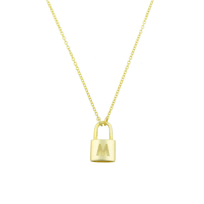 The Sweetest Initial Lock Necklace JEWELRY The Sis Kiss M
