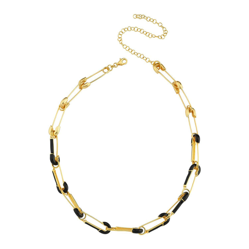 Black and Gold Paperclip Choker Necklace