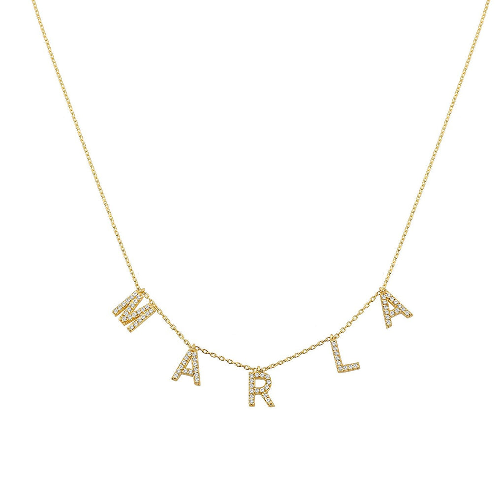 TSK It's All in a Name™ Necklace in 14k Gold with Diamonds JEWELRY The Sis Kiss One Letter 14k Gold with Diamonds