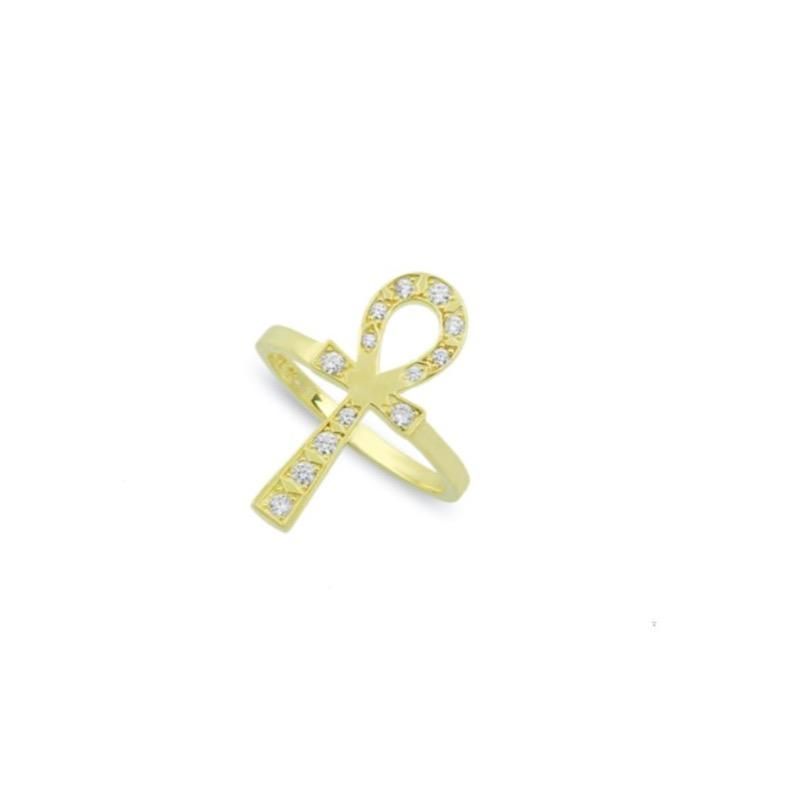 Gold and Crystal Ankh Ring JEWELRY The Sis Kiss