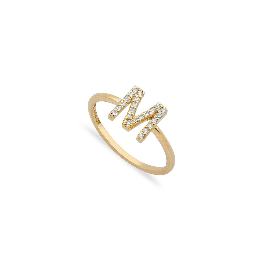 TSK Diamond Initial Ring JEWELRY The Sis Kiss 14k Gold 5