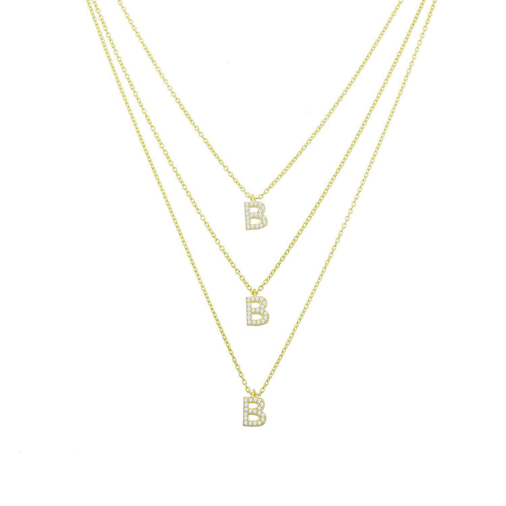 Custom Double or Triple Layered Initial Necklace JEWELRY The Sis Kiss Gold Triple Initial