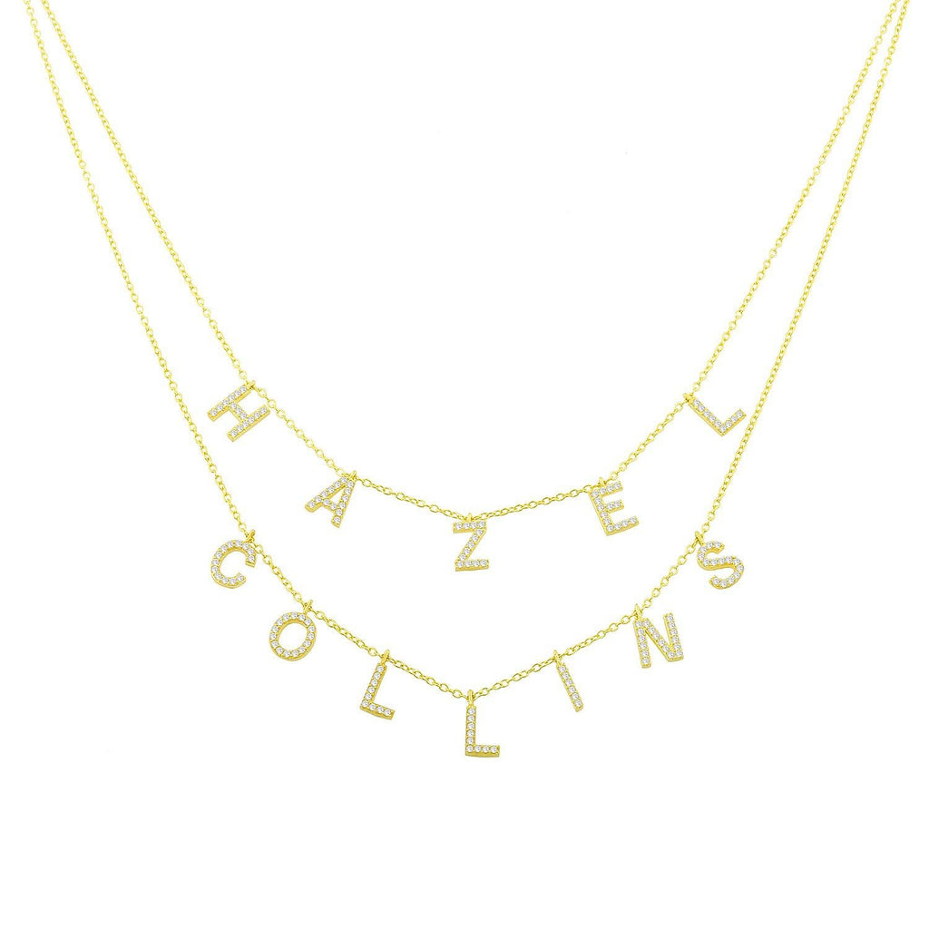 It's All in a Name™ Personalized Double Layer Necklace necklace The Sis Kiss Gold with Crystals