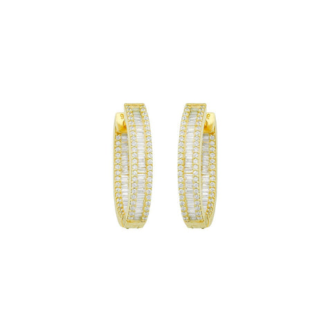 Baguette and Round Crystal Edge Hoop Earrings