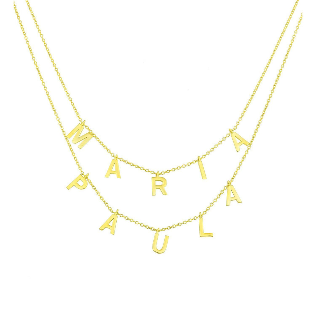 It's All in a Name™ Personalized Double Layer Necklace necklace The Sis Kiss Gold