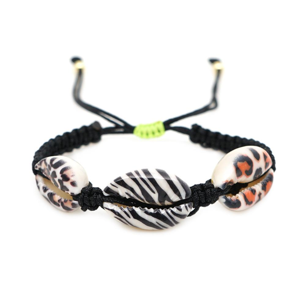 Adjustable Animal Print Shell Bracelets JEWELRY The Sis Kiss Zebra with Three Shells