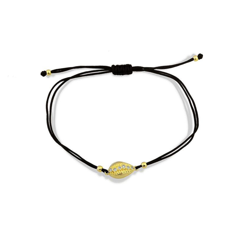 Gold Shell Adjustable Bracelets in Black and White JEWELRY The Sis Kiss Black Cord