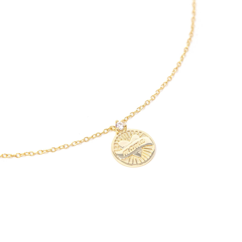 Mama Gold Coin Pendant necklace The Sis Kiss