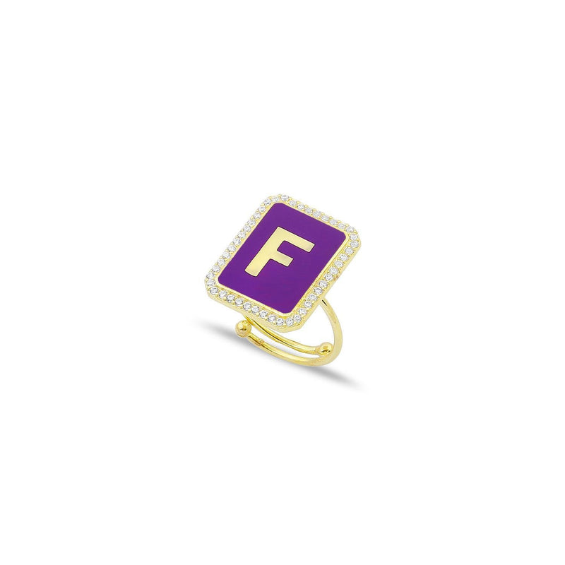 Custom Adjustable Enamel and Crystal Initial Ring JEWELRY The Sis Kiss Gold Purple