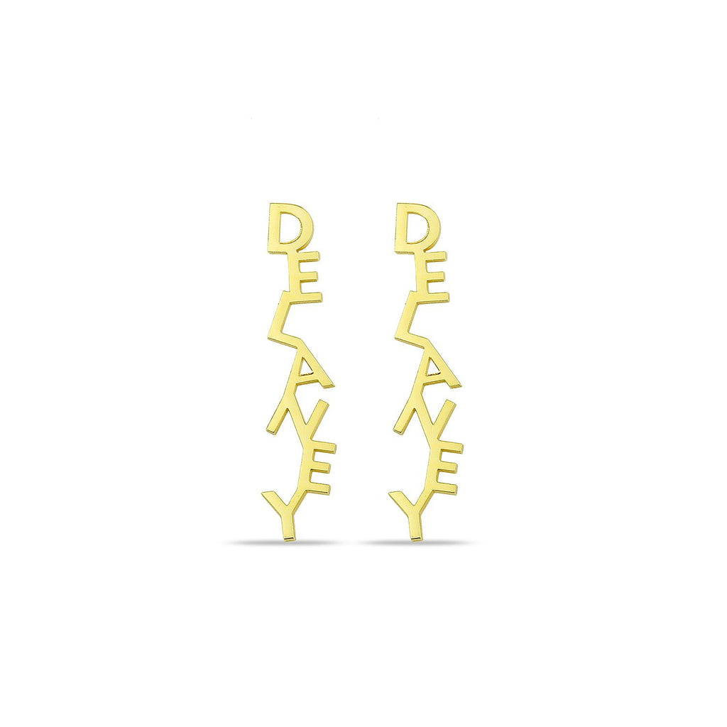 Custom Stacked Name Earrings JEWELRY The Sis Kiss