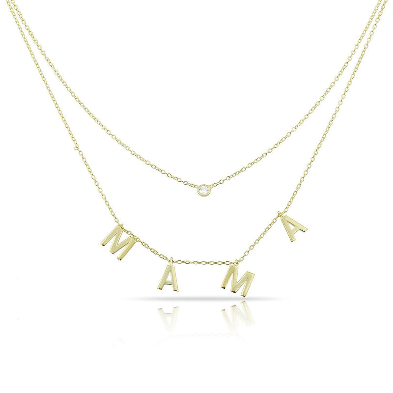 Loverly Layered Mama Necklace - Preorder JEWELRY The Sis Kiss Gold No Crystals
