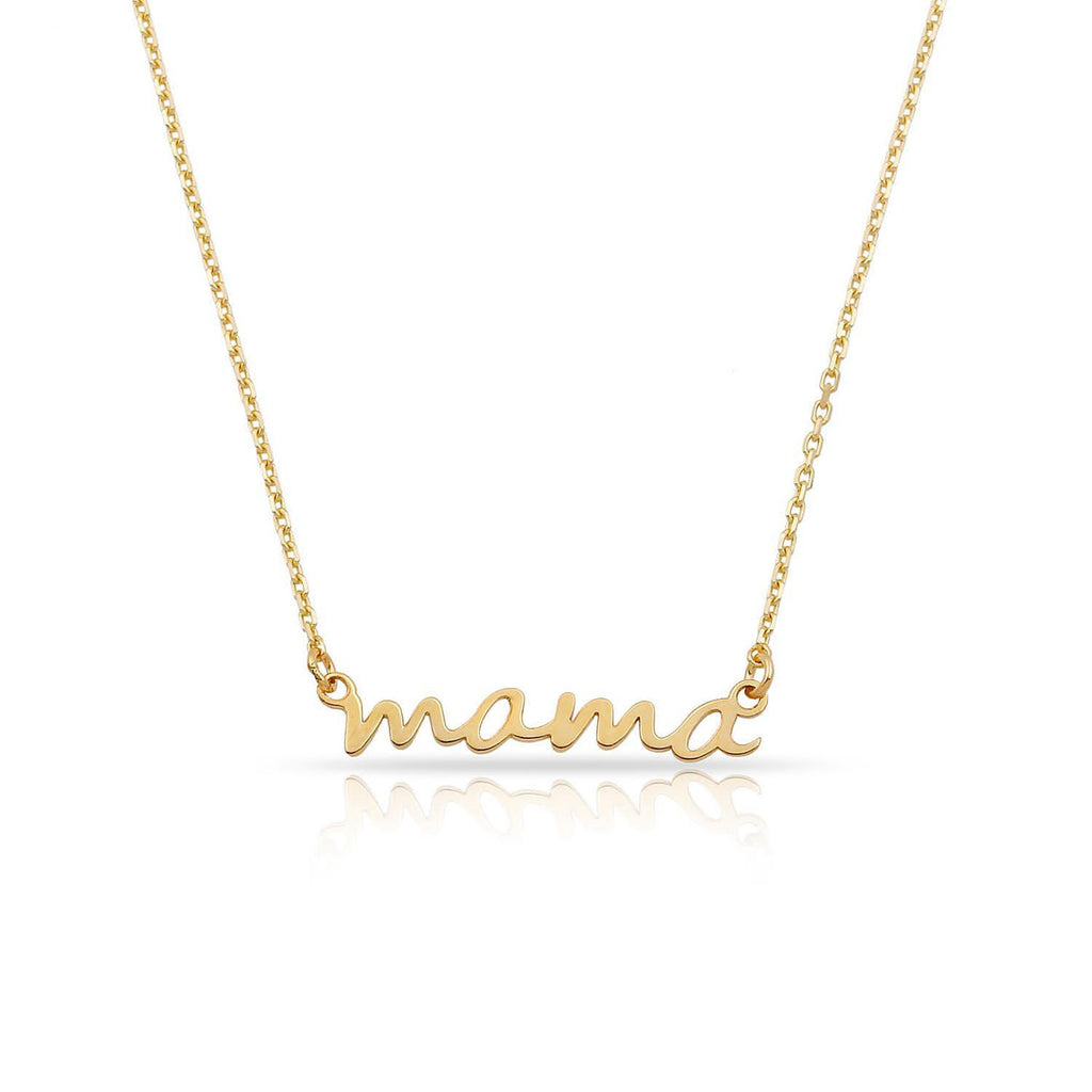 TSK 14k Gold Mama Script Necklace JEWELRY The Sis Kiss 14k Gold