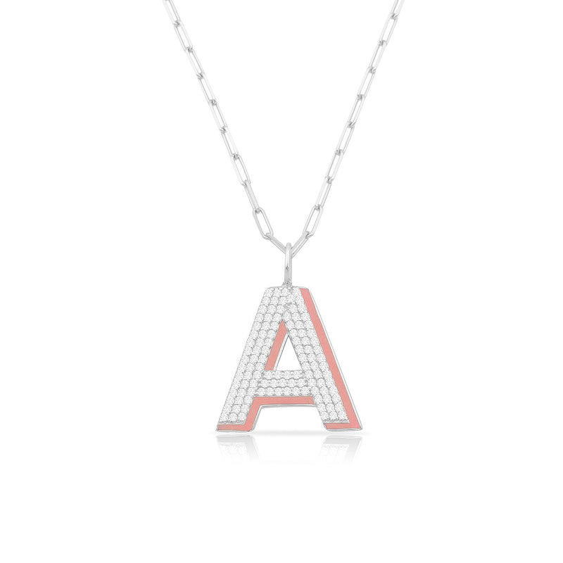 TSK Park Avenue Diamond Initial Pendant JEWELRY The Sis Kiss 14k White Gold Empire White