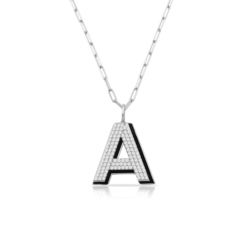 TSK Park Avenue Diamond Initial Pendant JEWELRY The Sis Kiss 14k White Gold Bowery Black