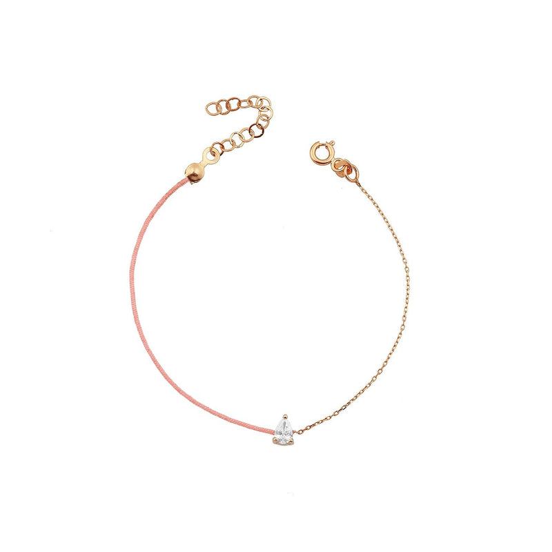 TSK Downtown Pear Cut Diamond Bracelet JEWELRY The Sis Kiss 14k Rose Gold Madison Pink