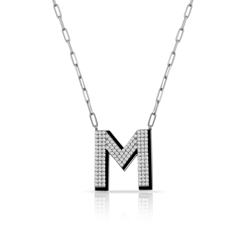 TSK Park Avenue Diamond Initial Necklace JEWELRY The Sis Kiss 14k White Gold Bowery Black