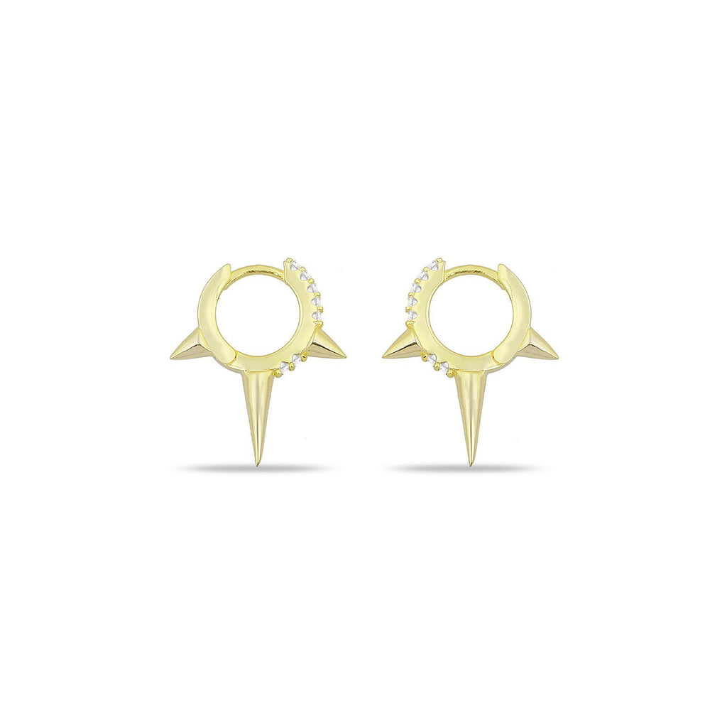 Gold Triple Spike Earrings with Pave Crystals JEWELRY The Sis Kiss Medium Spike