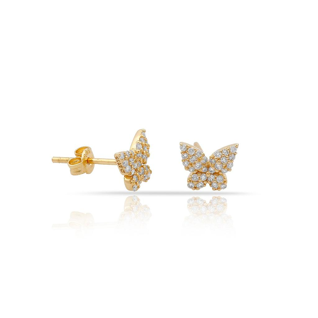 TSK Diamond Butterfly Studs JEWELRY The Sis Kiss 14k Gold