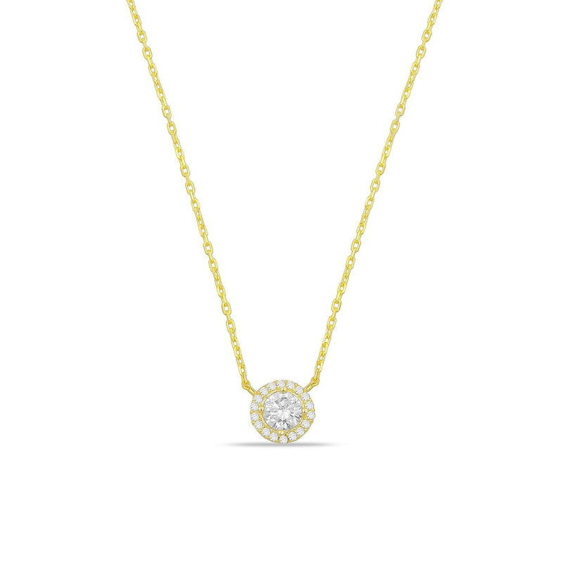 Classic Round Solitaire and Halo Necklace necklace The Sis Kiss