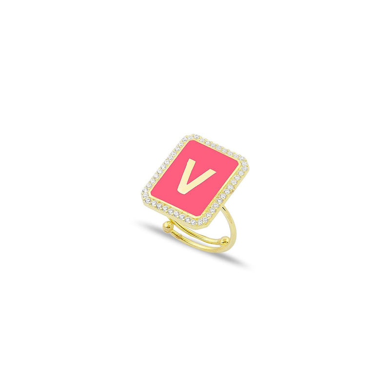 Custom Adjustable Enamel and Crystal Initial Ring JEWELRY The Sis Kiss Gold Hot Pink