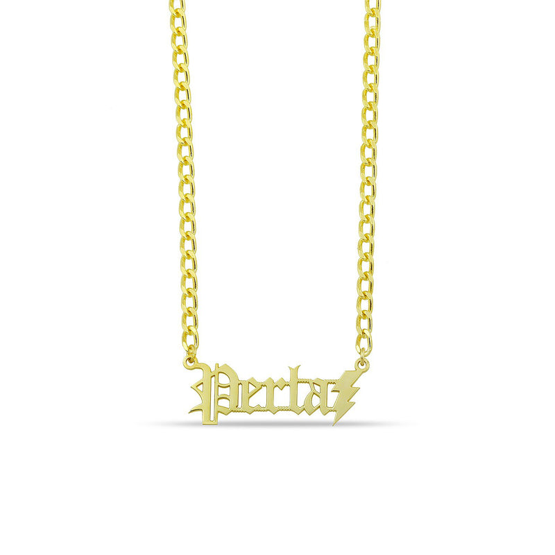 Custom Old English Nameplate Necklace on Link Chain JEWELRY The Sis Kiss Gold Nameplate with Bolt
